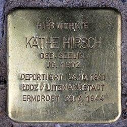 Photo of Käthe Hirsch brass plaque