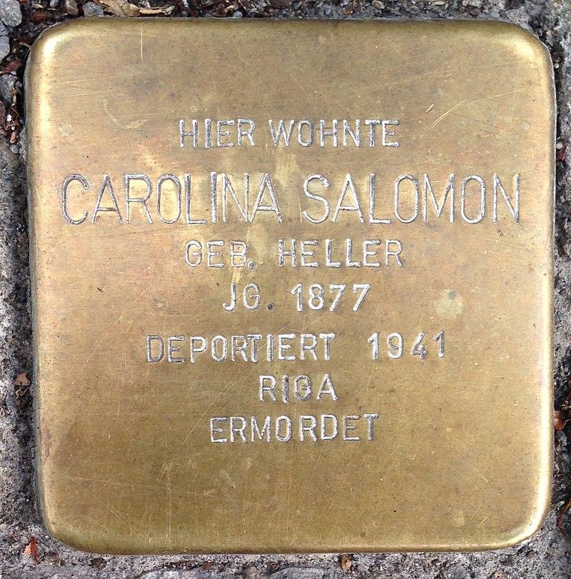 Stolperstein Waldbröl Hochstraße 30 Carolina Salomon
