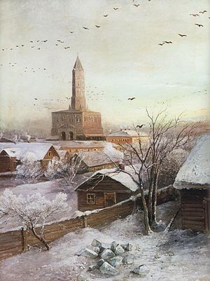 Sukharev Tower - Sukharev tower on Savrasov painting