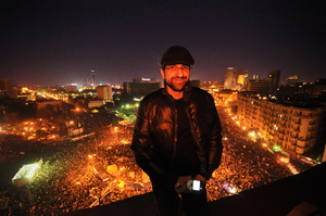Sultan Sooud Al-Qassemi - Sultan on top of Tahrir Square on the first anniversary of the Egyptian Revolution.