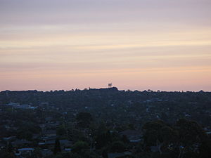 Surrey Hills, Victoria - Surrey Hills viewed from Doncaster Hill, showing the communications tower on Canterbury Road
