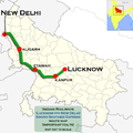 Swarn Shatabdi Express (Lucknow - New Delhi) route map.png