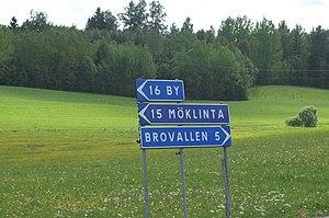 Sign in a rural area in Dalarna, Sweden