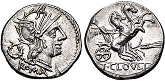 Cloelia (gens) - Denarius of Titus Cloelius, 128 BC. On the obverse is the head of Roma, on the reverse is Victoria driving a biga, with a corn-ear below.