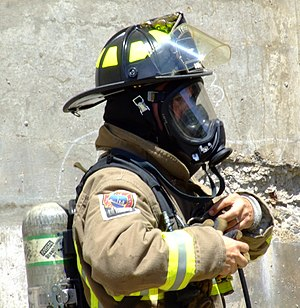 Self-contained breathing apparatus - Toronto firefighter wearing an SCBA