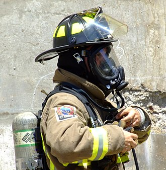 Self-contained breathing apparatus - Toronto firefighter wearing a SCBA