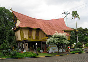 Malay houses - Rumah Lancang or Rumah Lontiok with a curved roof and boat-like structure. A Riau Malay traditional house, this is the Riau Pavilion Taman Mini Indonesia theme park.
