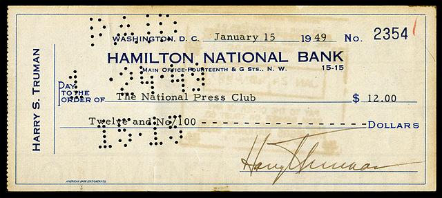 HARRY TRUMAN *SIGNED BANK CHECK* /& PHOTO PRINT DISPLAY