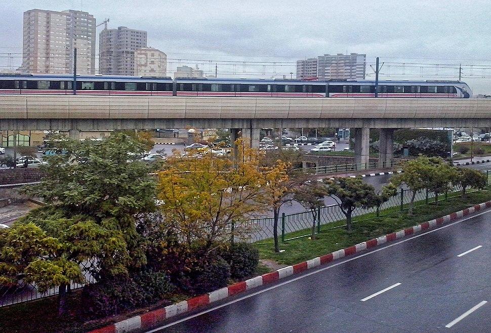 Tabriz Metro on Bridge