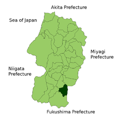 Location of Takahata in Yamagata Prefecture
