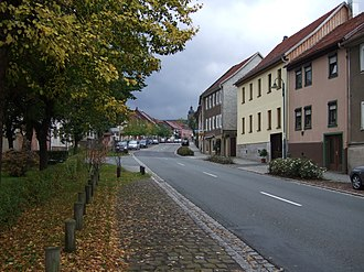 Tambach-Dietharz - View along street Hauptstrasse to Lutherkirche