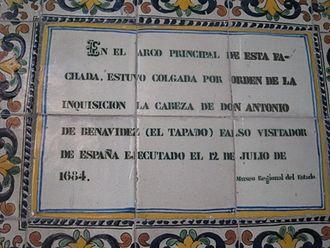 El Tapado - Execution date of Antonio Benavidez at la Compañía Church in Puebla