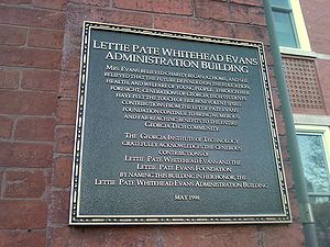 Lettie Pate Whitehead Evans - A plaque near the front doors of Tech Tower describes the building's eponymous benefactor.