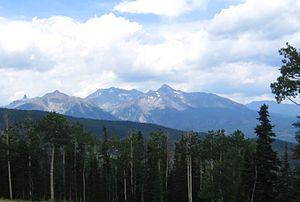 Wilson Peak - Wilson peak (right of center) photographed from the Telluride Ski Resort