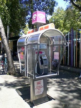 Fon (company) - Telstra WiFi Hotspot located on a public telephone in Sydney.