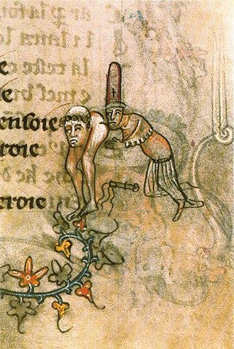 """History of the Knights Templar - The manuscript illustration (c. 1350) alludes to the accusation of """"obscene kisses"""" at the base of the spine"""