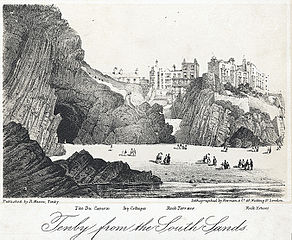 Tenby from the south sands: the Du Cavern, Ivy Cottages, Rock Terrace, Rock House