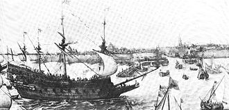 English ship Prince Royal (1610) - Image: The Prince Royal arriving at Flushing in 1613