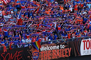 "FC Cincinnati - FC Cincinnati's fan section in Nippert Stadium, dubbed ""The Bailey"""