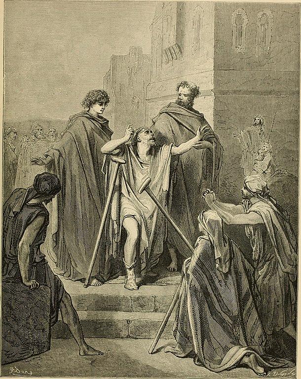 성전 미문 앞의 베드로와 요한 (귀스타브 도레, Gustave Dore, 1866년)