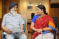 The Chief Minister of Punjab, Shri Parkash Singh Badal meeting the Union Minister for Human Resource Development, Smt. Smriti Zubin Irani, in New Delhi on June 19, 2014 (1).jpg