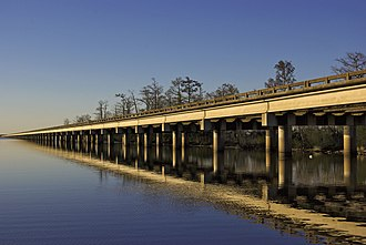 Interstate 10 in Louisiana - I-10 running west of New Orleans, spans the Bonnet Carre Spillway at Lake Pontchartrain