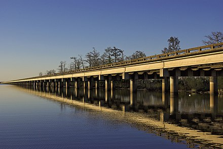 I-10 running west of New Orleans, spans the Bonnet Carre Spillway at Lake Pontchartrain The I-10, running west of New Orleans.jpg