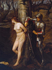 Dishevelled and distressed naked woman tied to a tree, being cut free by a man in armour