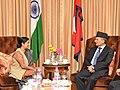 The Leader of Opposition in Lok Sabha, Smt. Sushma Swaraj calls on the Prime Minister of Nepal, Dr. Baburam Bhattarai, in New Delhi on October 21, 2011.jpg