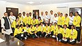 The Minister of State (Independent Charge) for Youth Affairs & Sports, Shri Jitendra Singh with the members of the World Cup Bronze winner Indian Junior Women Hockey team, in New Delhi on August 07, 2013.jpg