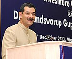 The Minister of State for Home Affairs, Shri Jitendra Singh addressing at the BPR&D Investiture Ceremony and Dr. Anand Swarup Gupta Memorial Lecture, in New Delhi on December 23, 2011.jpg