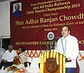 The Minister of State for Railways, Shri Adhir Ranjan Chowdhury addressing at the concluding day of the 61st All India Railways Table Tennis (Men & Women) Championship, in Kolkata on July 30, 2013.jpg