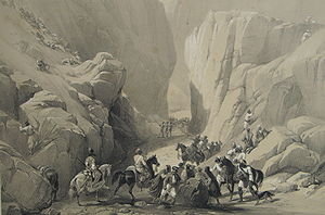 First Anglo-Afghan War - The Opening in to the Narrow Path above the Siri Bolan from James Atkinson's Sketches in Afghaunistan