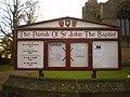 The Parish of St John the Baptist, Pilling, Sign - geograph.org.uk - 1563144.jpg