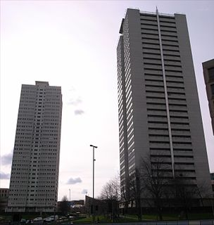 The Sentinels two 90 metre tall residential tower blocks on Holloway Head in Birmingham, England