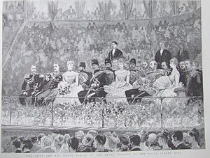 Naser al-Din Shah Qajar - The Shah on his European tour, seated with British and Russian royalty in the Royal Albert Hall, London