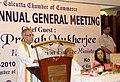 The Union Finance Minister, Shri Pranab Mukherjee addressing the 179th Annual General Meeting of Calcutta Chamber of Commerce, in Kolkata on September 11, 2010.jpg