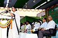 The Union Minister for Railways, Kumari Mamata Banerjee addressing the gathering at the inauguration of new computerized reservation centre, at Dhakuria, in Kolkata on April 10, 2010.jpg