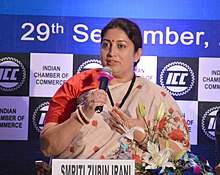 The Union Minister for Textiles, Smt. Smriti Irani participating at an interactive session of India Chamber of Commerce, in Kolkata on September 29, 2018.JPG