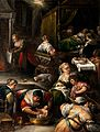 The birth of the Virgin. Oil painting by a follower of Franc Wellcome V0017245.jpg