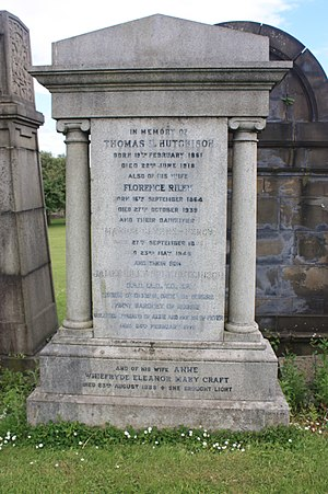 Sir James Hutchison, 1st Baronet - The grave of Sir James Riley Holt Hutchison, Glasgow Necropolis