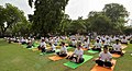 The participants in the mass performance of Common Yoga Protocol, on the occasion of the 4th International Day of Yoga -2018, at Qutub Minar Complex, in New Delhi on June 21, 2018 (4).JPG
