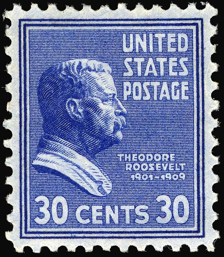 Theodore Roosevelt stamp 30c 1938 issue