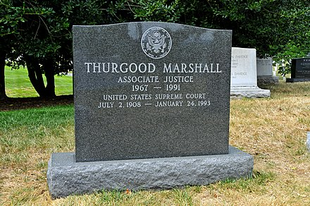 Marshall's grave at Arlington National Cemetery (Section 5, Grave 40-3) Thurgood Marshall, First African-American Supreme Court Justice.jpg