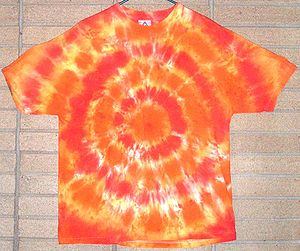 History of the hippie movement - An example of a tie dyed t-shirt. Tie dying in the late 1960s and early 1970s is considered part of the psychedelic movement.