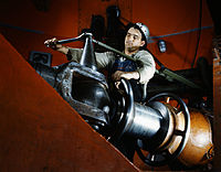 Tightening a nut on a guide vane operating seromotor in TVA's hydroelectric plant, Watts Bar Dam, Tennessee.jpg