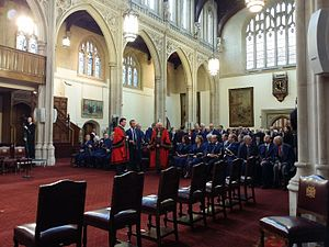 City of London Corporation - On formal occasions, as here in the Guildhall, the Common Councilmen wear blue fur-trimmed robes.