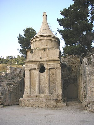 "Zechariah (priest) - The so-called ""Tomb of Absalom"" or ""Absalom's Pillar"" in the Kidron Valley, built in the 1st century CE; an inscription added three centuries later claims that it is Zechariah's tomb"