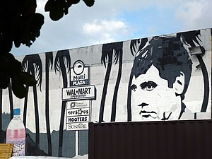 "Scarface (1983 film) - Graffiti of Pacino's ""Tony Montana"" character in 2012."