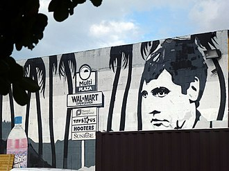 "Scarface (1983 film) - Mural of Pacino's ""Tony Montana"" character in 2012"
